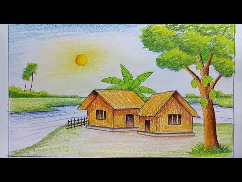 رسم منظر طبيعي اجمل لوحات للفنانين