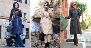 صور موضة شتاء 2019 للمحجبات , ملابس رائعه للفتيات الملتزمات فى الشتاء