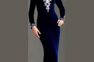 صورة موديلات فساتين مخمل , للفستان المخمل جمالة الخاص